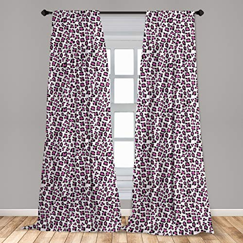Ambesonne Leopard Print Window Curtain, Pink and Black Colored Girlish Pattern Safari Savannah Wildlife Theme, Lightweight Decorative Panels Set of 2 with Rod Pocket, 56 x 63, Charcoal White
