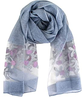 Van Caro Womens Silk Spring Scarf Fashion Shawls Wraps for Hair & Neck