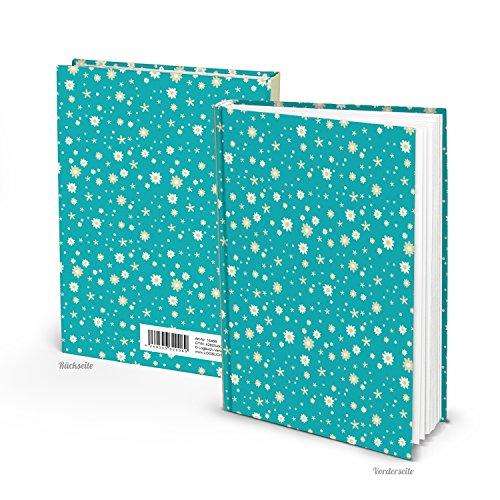 Logbuch-Verlag Notizbuch Tagebuch klein DIN A5 Blankobuch türkis Haushaltsbuch blau Buch leer blanko Blümchen retro Geschenk Weihnachten