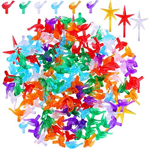 Ruisita 123 Pieces Plastic Christmas Tree Bulbs Ceramic Christmas Tree Replacement Ornaments Festive Bird Ceramic Christmas Tree Bulbs and Star Topper