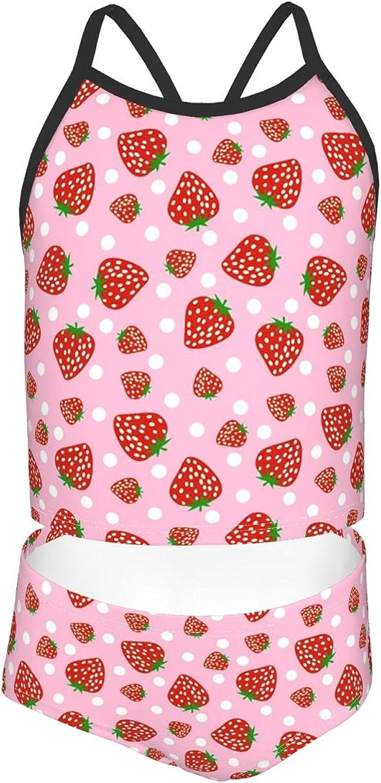 Girls Two quality assurance Max 57% OFF Piece Bikini Swimsuits Cute Swimwea Strawberry Cartoon