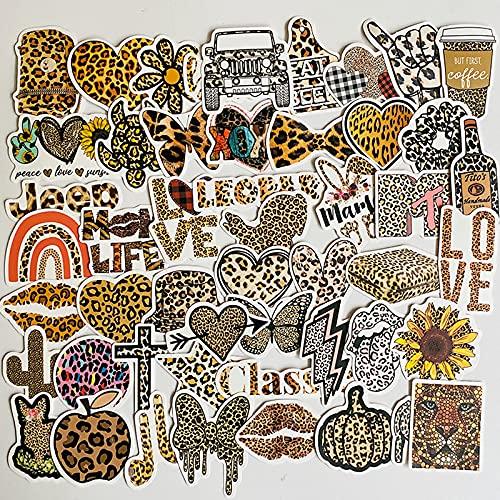 BUCUO Pegatinas de Amor con Estampado de Leopardo Maleta de Equipaje Pegatinas de Caja de teléfono portátil 50 Piezas