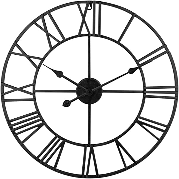 XSHION Large Decorative Wall Clock 24 Inch Vintage Roman Numeral Wall Clock Metal Silent Wall Clock Battery Operated For Living Room Bedroom Office Hotel Decor Black
