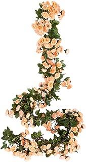 Miracliy 2PCS 69 Heads Fake Rose Vine Flowers Plants Artificial Flower Hanging Rose Wedding Party Garden Craft Art Décor, Yellow