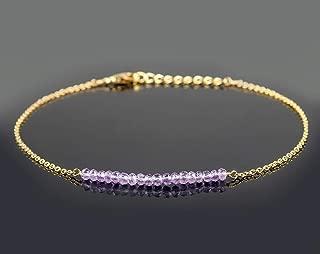 eValuesell Natural Amethyst Crystal Beaded Bar Handmade Bracelet 14K Gold Fill 925 Sterling Silver Chain 8