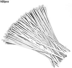 100pcs 4.6 * 250mm Cable de acero inoxidable Autoblocante Zip Tie Wrap Strap para sujeción, envoltura, tubería, cableado, postes de alambre, mangueras y más.