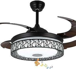 Pengfei Ventilador de Techo Inteligente Moderno de 42 Pulgadas con Luces Accesorios de iluminación de la lámpara del Altavoz Bluetooth, Control Remoto, aspas retráctiles, 3 Colores claros, para Sala