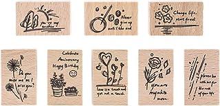 Wooden Rubber Stamp Set, NogaMoga 8pcs Graffiti Art Plant and Flower Pattern Rubber Seals, Wood Mounted Decorative Stamps ...