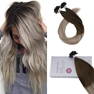 Moresoo Hair 16 Inch Remy Hair U Tip Color #4 Brown Fading to #18 Blonde Human Hair Extensions Keratin Tip Ombre Extensions Fusion 1g/s 50g Per Package Nail U Tip Hair Extensions