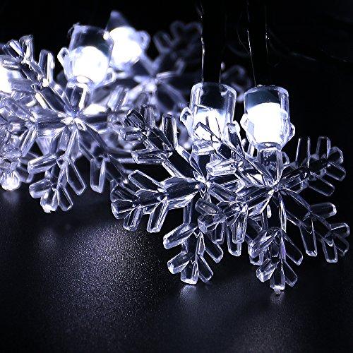 HOMECUBE LEDイルミネーションライト ソーラーライト 30球 クリスマス飾り 長さ6.5m 明暗センサーライト ガーデンライト 屋外 防雨 雪花形(ホワイト)