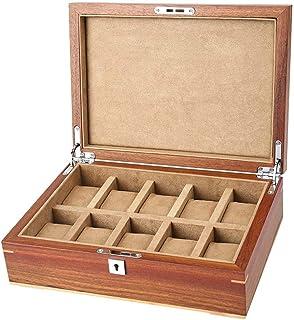 HLJ Guarda Box con coperchio lass 10 slot welry display rabbia caso di legno Bracciale Vetrina Organizzatore for gli uomin...