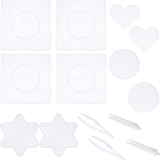 ULTNICE 14pcs Fuse Beads Boards Clear Plastic Pegboards for Kids Craft Beads 5mm
