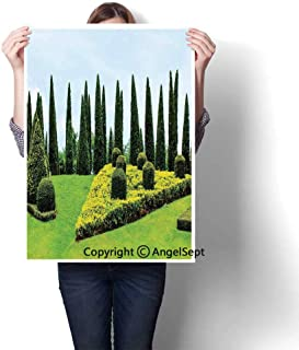 Multicolor Modern Canvas Painting Wall Art,Classic Formal Designed Garden with Evergreen Shrubs Boxwood Topiaries(24