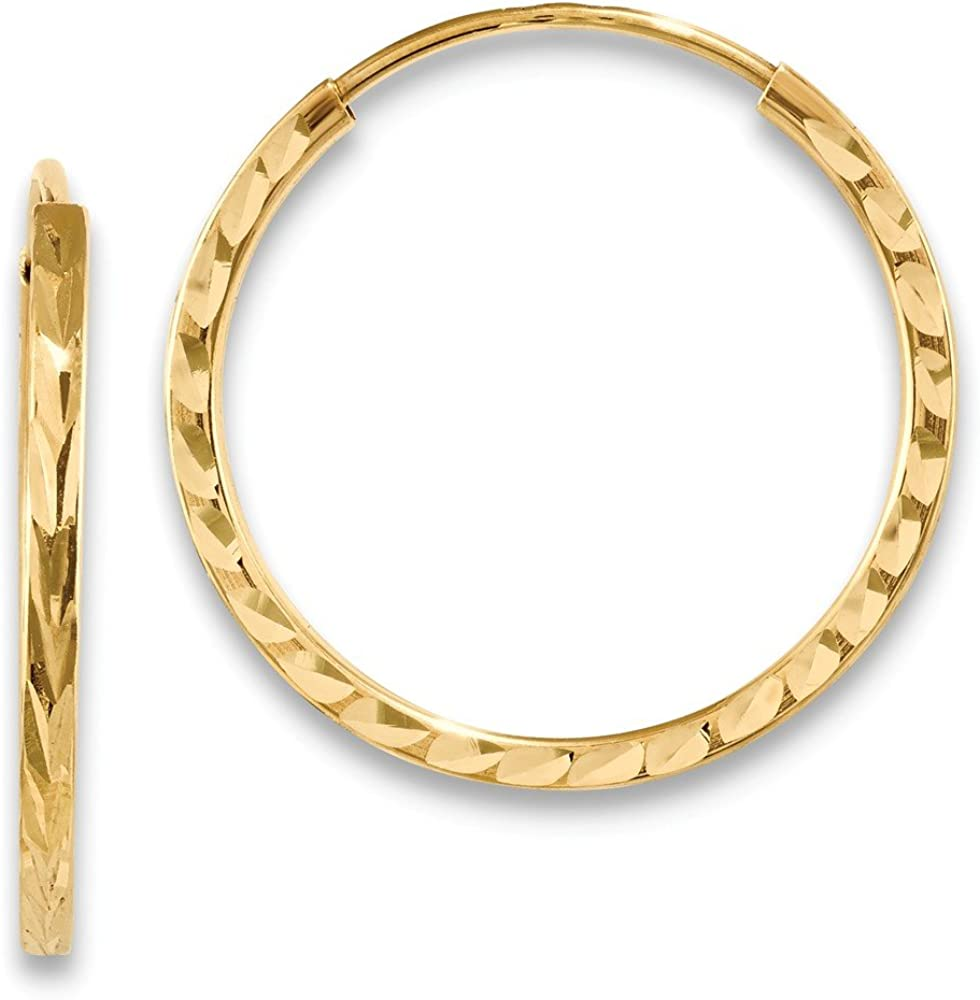 14k Yellow Gold Square Tube Endless Hoop Earrings Ear Hoops Set Round Fine Jewelry For Women Gifts For Her