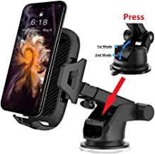 Car Phone Mount Holder,Multi Function Extendable Holder Arm for Car Dashboard Air Vent Windshield, 2 Suction Levels,Washable Gel Pad Compatible iPhone XR/XS/Max/X/8/7 Galaxy and More Black