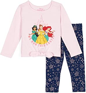 Disney Princess Girls 2 Piece Long Sleeve Shirt and Leggings Set Featuring Bella, Ariel and Jasmine