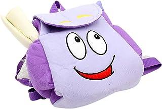 Mochila para niños, linda felpa Dora esponjosa mochila para niñas y mujeres, de viaje, suave, color morado