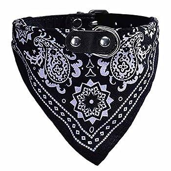 Ueetek Collier-bandana réglable pour chien ou chat, Taille L, noir