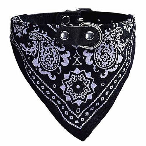 UEETEK Collare Regolabile Bandana Cane Gatto Foulard Sciarpa Bavaglino Triangolo Nero Taglia XL