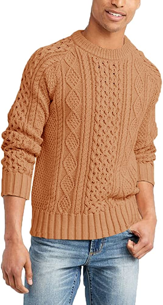 Men's Knitted Fisherman Pullover Sweater Cable Crewneck Sweater with Twist Patterned