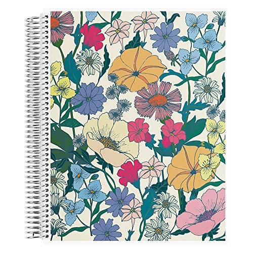 Erin Condren Coiled Notebook (College Ruled Layout) - Flower Power Designer Interchangeable Cover, College Ruled Lined Paper, Measures 8.5' x 11', Boost Productivity, Durable, Pretty, Cute