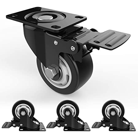 """3"""" Swivel Caster Wheels with Safety Dual Locking and Polyurethane Foam No Noise Wheels, Heavy Duty - 250 Lbs Per Caster (Pack of 4)"""