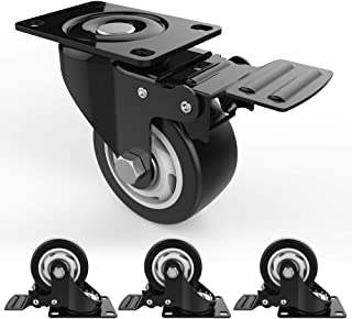 """3"""" Swivel Caster Wheels with Safety Dual Locking and Polyurethane Foam No Noise Wheels, Heavy Duty - 250 Lbs Per Caster (P..."""