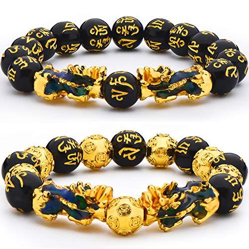 2 Stücke 12 mm Feng Shui Perlenarmband Chinesisches Armband mit Handgeschnitztem Schwarzen Amulett Perlenarmband für Wohlstand und Glück (Doppelte Thermochromie Pi Xiu)