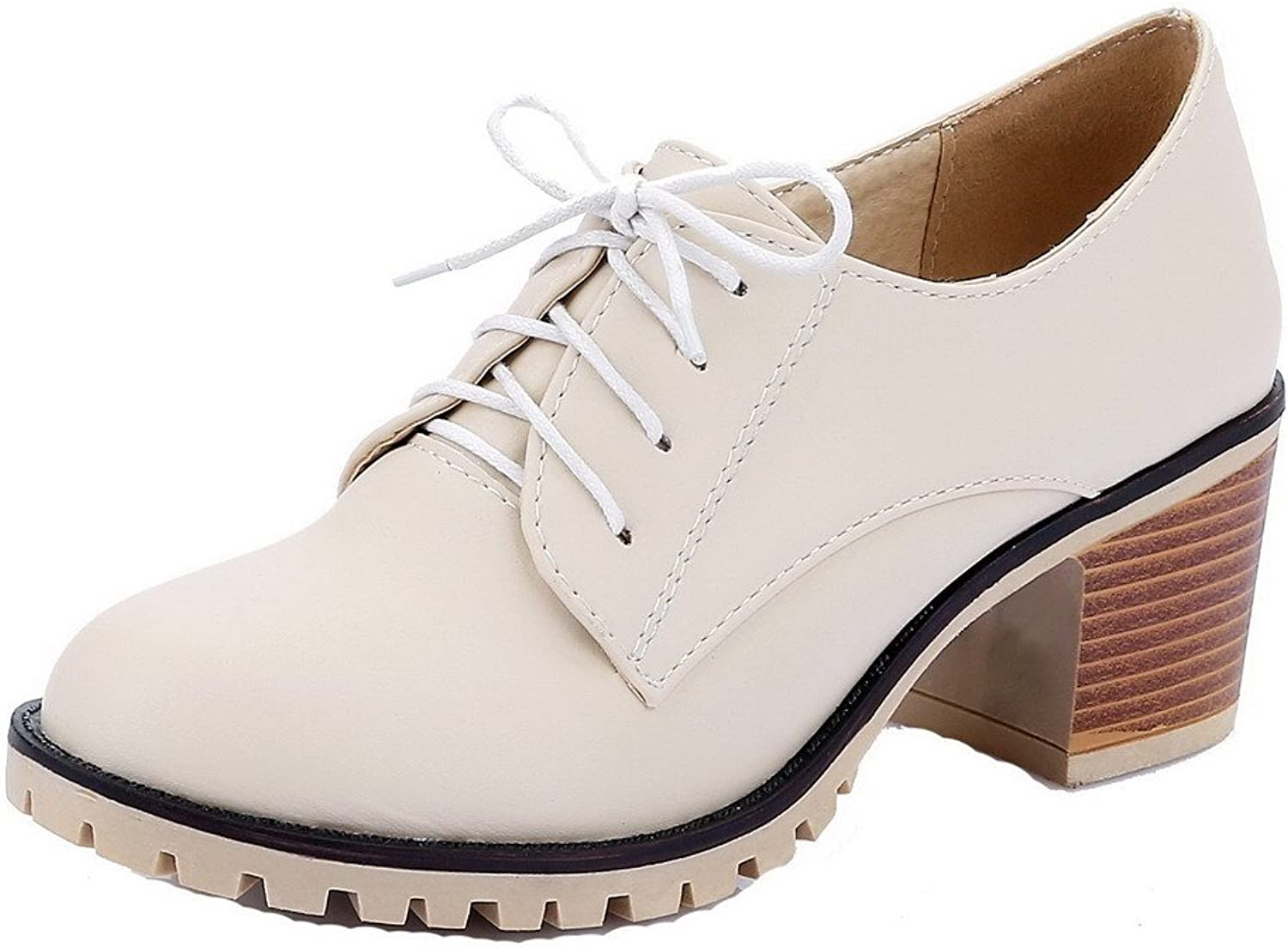 AmoonyFashion Women's Round-Toe Kitten-Heels PU Solid Lace-up Pumps-shoes