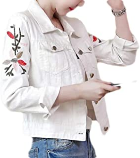 Women's Loose Flower Embroidery Lapel Long Sleeve Button Denim Jacket with Pocket
