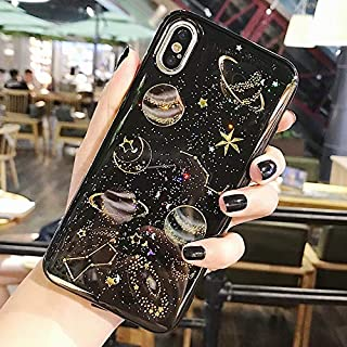 Topwin Space Case Compatible iPhone Xr, Bling Glitter Space Planet Sparkle Stars Moon Cosmos Outter Space Soft Flexible TPU Silicon Case for Apple iPhone Xr (Black)
