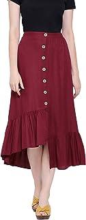 oxolloxo Women's Viscose Solid Skirt (Maroon)