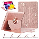 iPad 8th/7th Generation Case, iPad 10.2 Case with Apple Pencil Holder, Luxury [Glitter Sparkly] Multi-Angle Viewing Shockproof Full Body Smart Protective Cover for Girls Women, Rose Gold