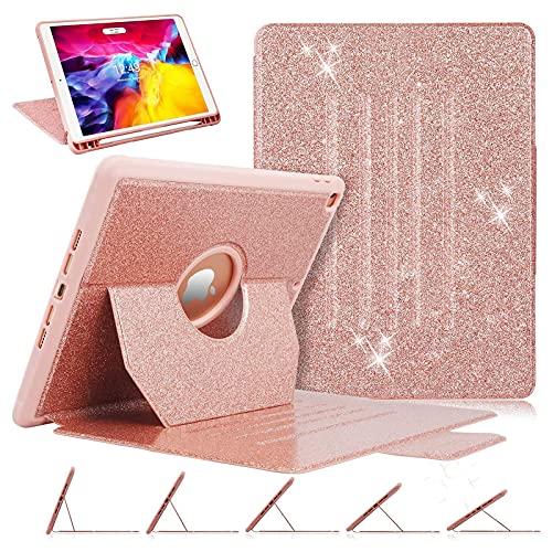 Funda para iPad de 8ª/7ª generación, iPad 10.2 con soporte para lápiz Apple, de lujo [purpurina brillante] multiángulo de visión...