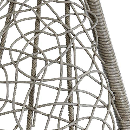 ESTEXO Hängesessel für eine Person mit Gestell, Einsitzer, Polyrattan, Hängekorb, Hänge Schaukel, wetterfest – Grau/Silber - 6