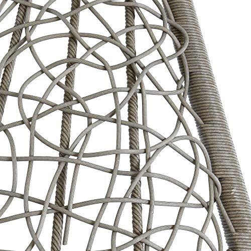 ESTEXO Hängesessel für eine Person mit Gestell, Einsitzer, Polyrattan, Hängekorb, Hänge Schaukel, wetterfest - Grau/Silber - 7