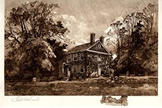 Washington's Headquarters, Valley Forge, Pennsylvania: Robert Shaw Etching, Signed & Numbered Artist's Proof, Chine-colle with remarque, 1906