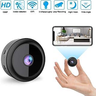 RIRGI Cámaras espía Oculta Cámaras Espía WiFi 1080P HD con IR Visión Nocturna Detector de Movimiento Grabadora de Video Camaras de Seguridad Pequeña para Interior/Exterior