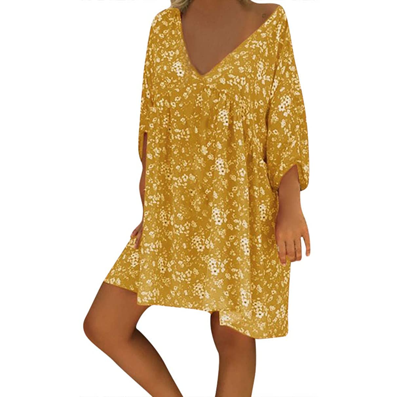 Sunmoot Casual T Shirt Dresses for Womens Plus Size Summer Boho Print V Neck Half Sleeve Loose Beach Dress
