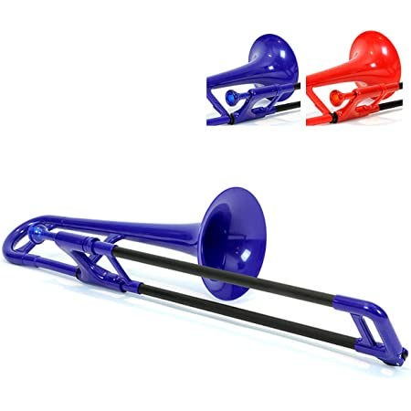 pInstrument Plastic Kids pBone Mini Trombone - Mouthpiece and Carrying Bag- Lightweight Versatile, Comfortable Ergonomic Grip- Eb Authentic Sound for Student & Beginner- Durable ABS Construction- Blue