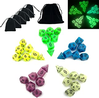 Smartdealspro 5 x 7-Die (35 Pieces) Glowing Glow in The Dark Dungeons and Dragons DND RPG MTG Pathfinder Table Games Dice Die with Free Pouches