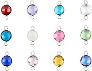 1 Set Mixed Birthstone Charm Connectors 8mm Austrian Crystal Beads Silver Plated Copper Brass (12pcs) for Earrings Bracele...