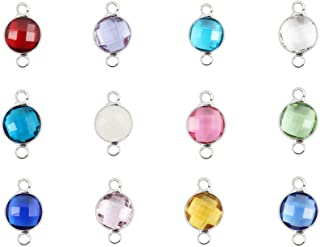 1 Set Mixed Birthstone Charm Connectors 8mm Austrian Crystal Beads Sterling Silver Plated (12pcs) for Earrings Bracelet Necklace Keychain CCP3-S