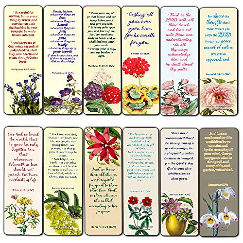 KJV Bookmarks Cards Series 1 (60 Pack) - Beautiful Floral Flowers Scriptures Prayer Cards - Romans 8:28 John 3:16 Jeremiah 29:11 Christian Faith Encouragement - Stocking Stuffers for Bible Book Club