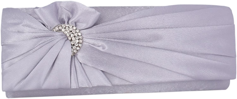 Adoptfade Womens Pleated Flower Clutch Bag Satin Retro Evening Bags