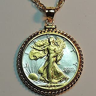 Old U.S. Walking Liberty half dollar Gorgeously 2-Toned (Uniquely Hand done) Gold on Silver coin Necklaces for women men girls girlfriend boys teen girls