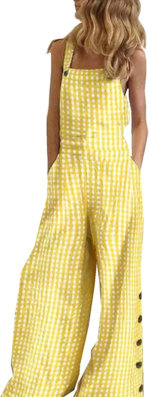 Bravetoshop Women's Baggy Overalls Sleeveless Straps Jumpsuit Wide Leg Long Pants Rompers with Pockets Y2K Streetwear