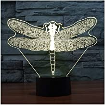 Ambient Light& Dragonfly Night Light, 3D Table Lamp 7 Colors Color LED Lights, Smart Touch and Remote Control 3D Childrens Night Light for Ladies Christmas Gift Children Girls Children's room night li