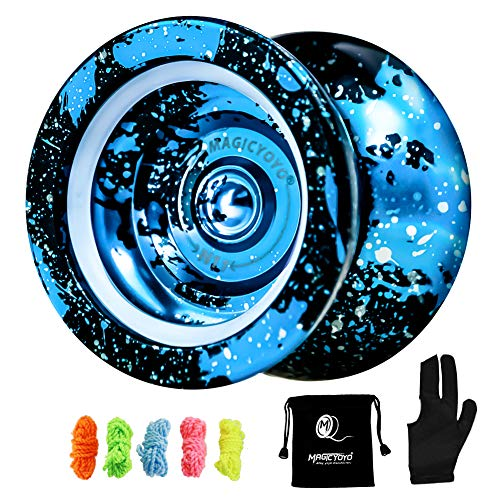 MAGICYOYO Unresponsive Yoyo N11, Professional Yoyo Aluminum Metal Yoyo Spin Yoyo for Kids Advanced Yoyo Players + Bag + Yoyo Glove + 5 Yoyo Strings