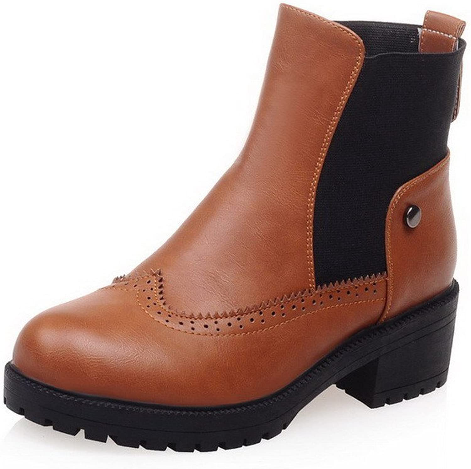WeenFashion Women's Assorted color Round Closed Toe Blend Materials PU Low-top Boots